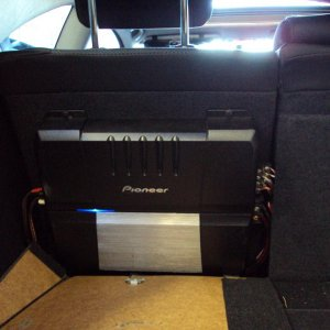 Pioneer Amp wired to four Alpine Speakers